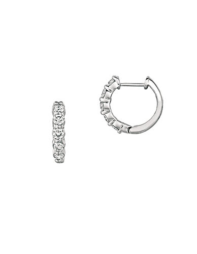 LORD & TAYLOR 14Kt White Gold and Diamond Hoop Earrings
