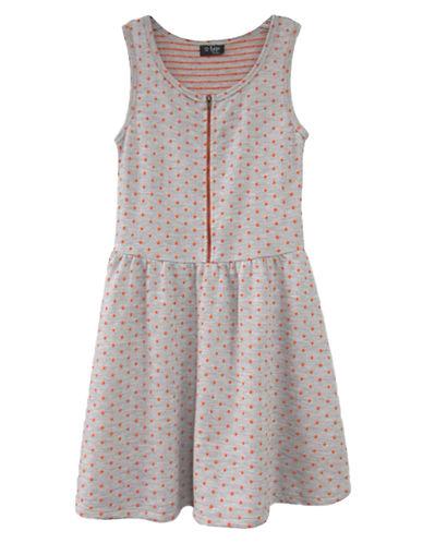 2 HIPGirls 7-16 Dot Print Dress with Front Zipper