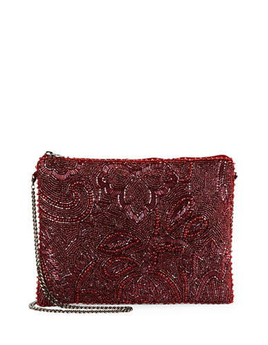 mary frances female beaded topzip clutch