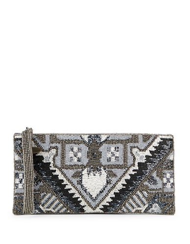 mary frances female beaded geometric clutch