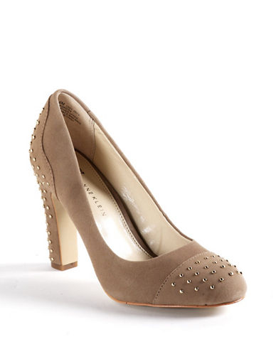 ANNE KLEIN Qadira Studded Suede Pumps