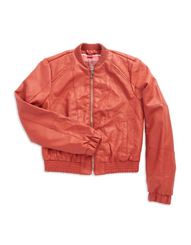 COLLECTION B Girls 7-16 Faux Leather Bomber Jacket