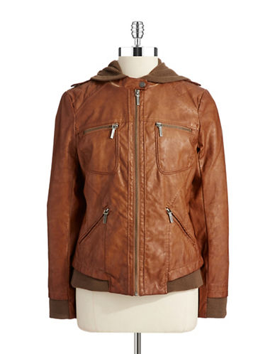 BERNARDOFaux Leather Bomber Jacket
