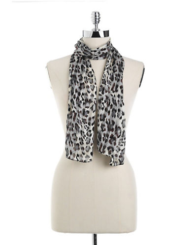 ECHO Striped Cheetah-Print Silk Scarf