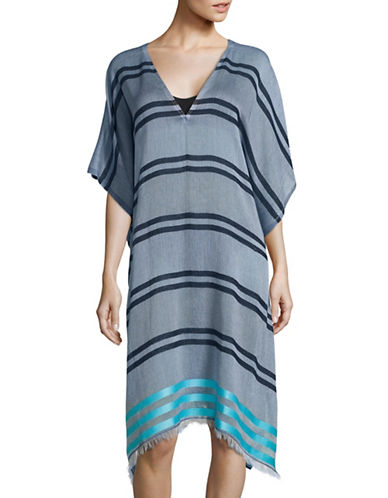 Block Striped Assymetrical Swim Caftan