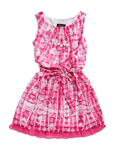 ALLY BGirls 7-16 Patterned Fit And Flare Dress With Necklace