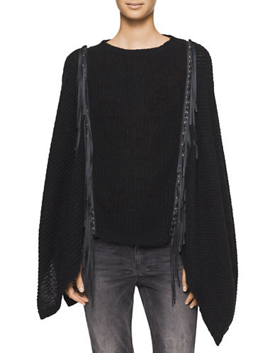 calvin klein female knit tasseled poncho