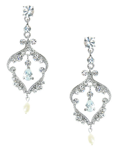 NINA Crystal and Pearl Stone Chandelier Earrings