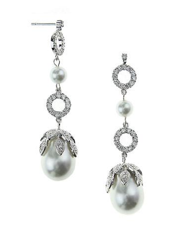 NINADiandra Baroque Pearl and Cubic Zirconia Drop Earrings