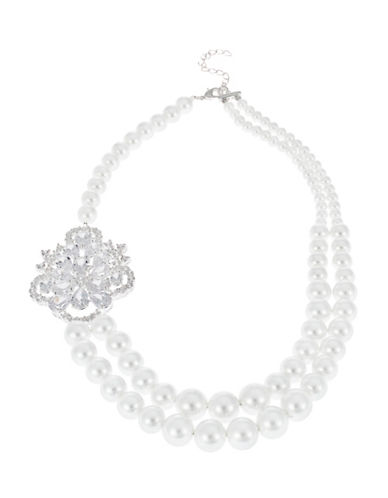 NINA Rhinestone Accented Faux Pearl Necklace