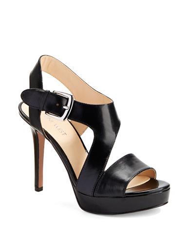 NINE WESTSayNoMore Leather Platform Sandals