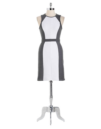 ALI ROSleeveless Pique Colorblock Dress