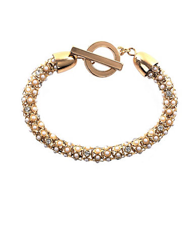ANNE KLEIN Gold Tone and Crystal Tubular Bracelet