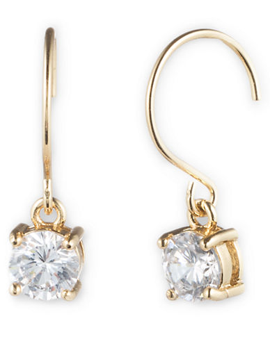 ANNE KLEIN Gold Tone and Round Cubic Zirconia Drop Earrings