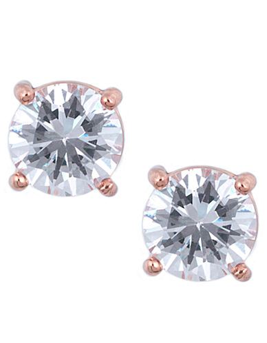 ANNE KLEINRose Gold Tone and Cubic Zirconia Stud Earrings