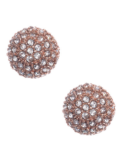 ANNE KLEINRose Gold Tone and Crystal Ball Stud Earrings