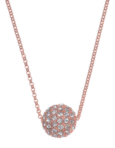 ANNE KLEIN Rose Gold Tone and Crystal Fireball Pendant Necklace