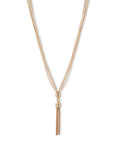 ANNE KLEINGold Tone Multi Layer Y Necklace