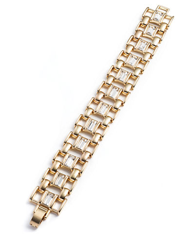 ANNE KLEIN Gold-Tone and Glitz Link Bracelet