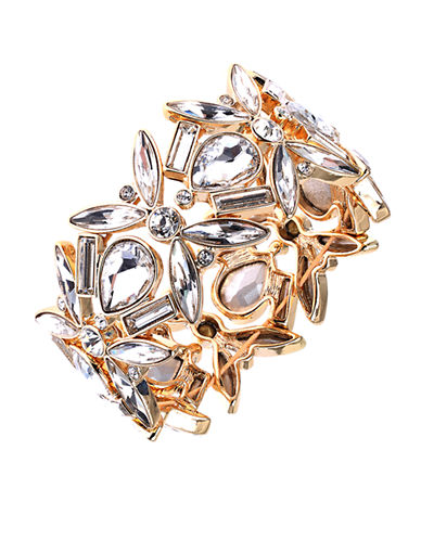 ANNE KLEINGold-Tone and Sculpted Clear Stone Bangle Bracelet
