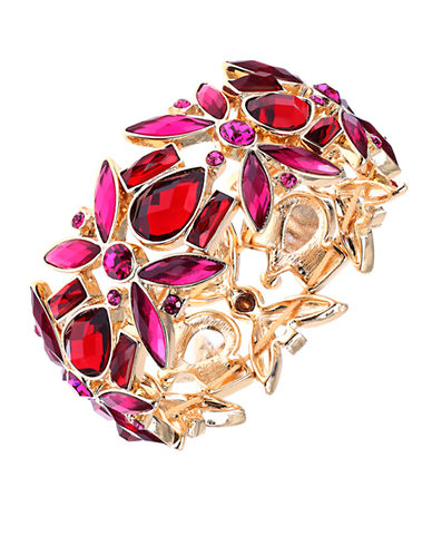 ANNE KLEINGold-Tone and Sculpted Mixed Red Stone Bangle Bracelet