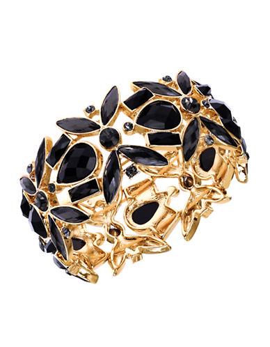 ANNE KLEINGold-Tone and Sculpted Black Stone Bangle Bracelet