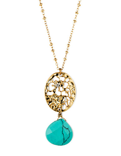 LONNA & LILLY Gold Tone Openwork Pendant Necklace with Drop Turquoise Stone