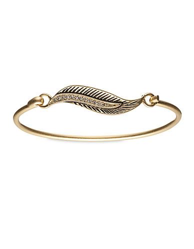 LONNA & LILLY Gold Tone and Crystal Feather Bangle Bracelet