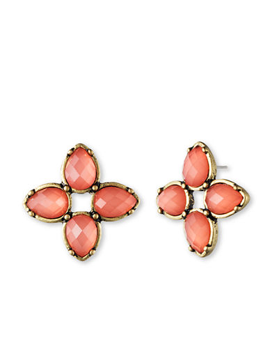 LONNA & LILLYGold Tone and Coral Flower Stud Earrings