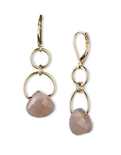 LONNA & LILLY Gold Tone Linear Link Earrings with Taupe Gemstones