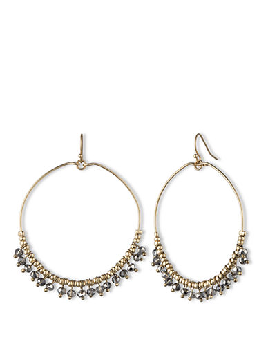 LONNA & LILLY Gold Tone Drop Hoop Earrings with Dangling Beads
