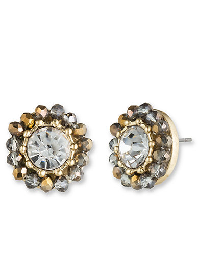 LONNA & LILLYBead and Crystal Round Stud Earrings
