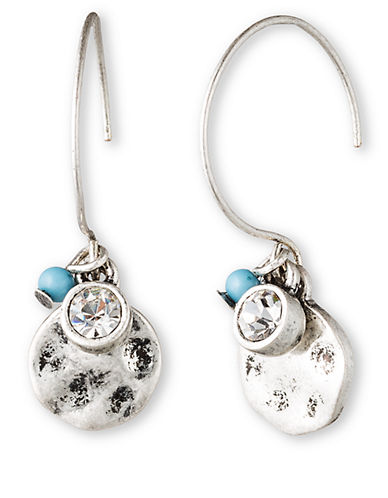 LONNA & LILLY Silver Tone Drop Disc Earrings with Sky Beads