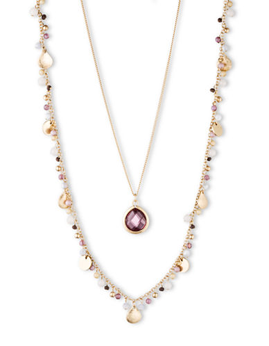 LONNA & LILLYGold Tone and Mixed Bead Two Row Necklace