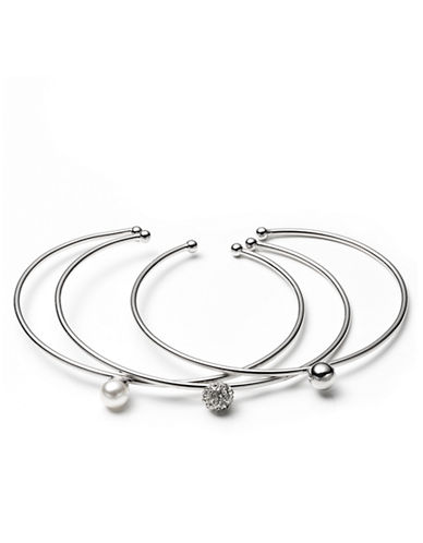 LONNA & LILLY Silver-Tone and Acrylic Pearl Bangle Bracelet Set - 3