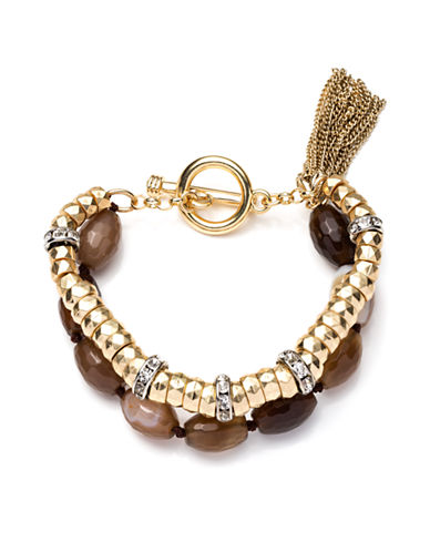 LONNA & LILLY Gold-Tone and Mixed Bead Toggle Bracelet