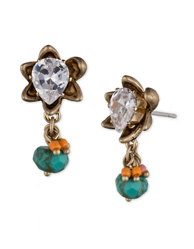 LONNA & LILLY Cubic Zirconia and Stone Flower Drop Earrings