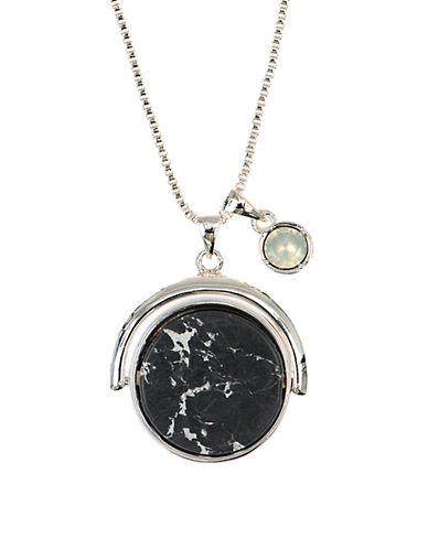 Anne Klein Silvertone Epoxy Pendant Necklace