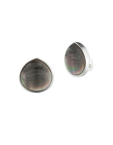 ANNE KLEIN Reconstituted Black Mother-of-Pearl Stud Earrings