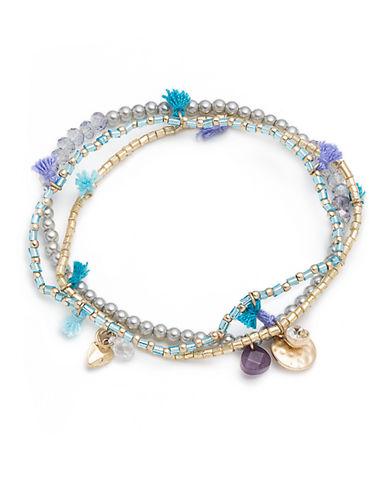 LONNA & LILLYThree-Piece Cubic Zirconia and Faux Pearl Stretch Bracelet Set