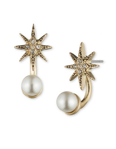 LONNA & LILLY Faux Pearl and Crystal Star Ear Jacket Earrings