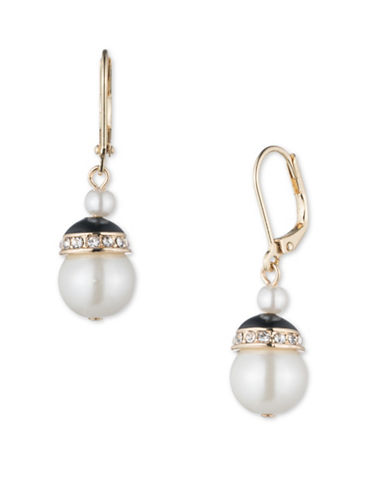 10 MM Simulated Pearl and Crystal Goldtone Drop Earrings