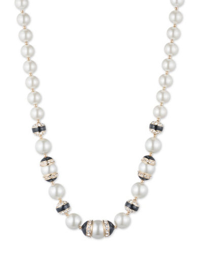 10 MM, 12 MM, 14 MM Simulated Pearl Strand Goldtone Collar Necklace