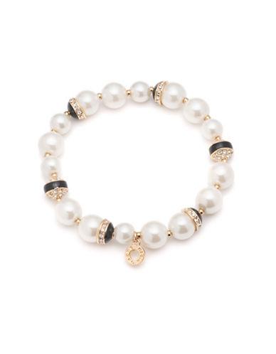 8 MM, 10 MM Simulated Pearl Strand Goldtone Bracelet
