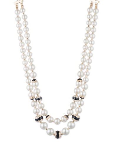 8 MM, 10 MM, 12MM Simulated Pearl Two-Row Strand Goldtone Necklace
