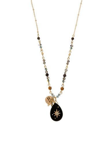 Goldtone Star Charm Necklace and Leather Pouch Set