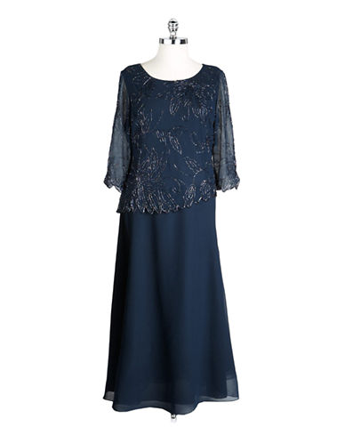J KARAPlus Beaded Bodice Dress