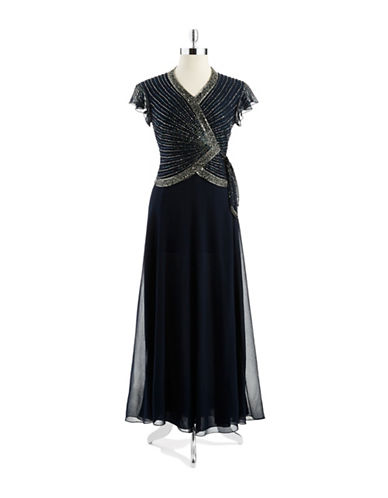 Beaded Mock Top Gown $230.00 AT vintagedancer.com