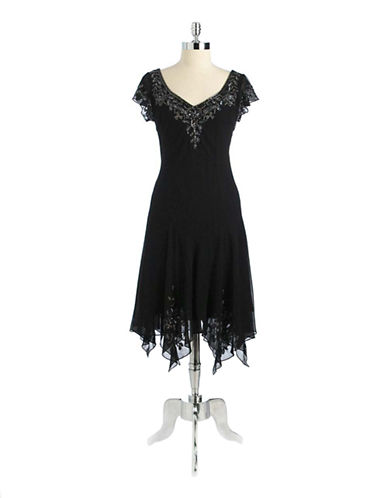 J Kara Cap Sleeved Beaded Dress