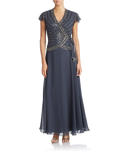 Petite Beaded Faux Wrap Gown $230.00 AT vintagedancer.com